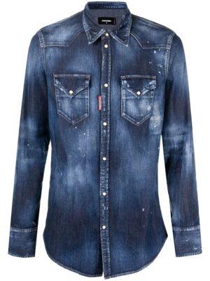 Chemises chemise en jean à effet délavé
