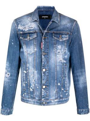 Dsquared2 veste en jean à effet usé