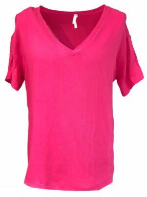 Hauts t-shirt uni avec col en v
