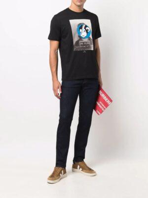 Jeans jean slim à patch logo