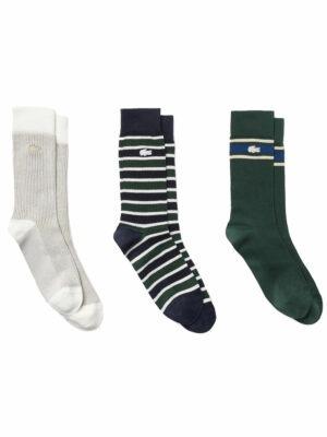 Lacoste Live Lot de 3 paires de chaussettes Héritage en coton côtelé
