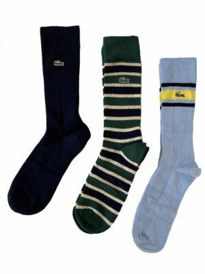 Lacoste Live Lot de trois chaussettes en coton côtelé Heritage pour homme