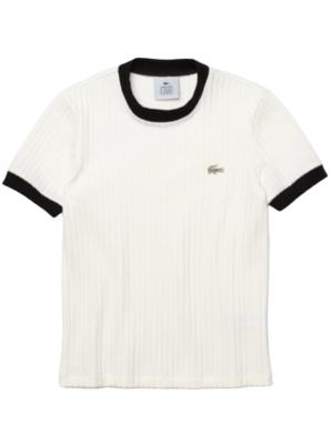 Hauts T-shirt Lacoste L!VE à col rond côtelé avec détails contrastés