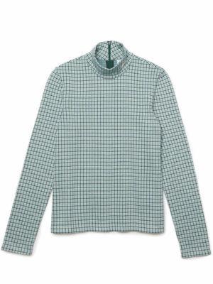 Hauts T-shirt Lacoste L!VE à col roulé en coton mélangé à carreaux