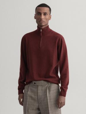 Gant Pull en laine d'agneau extra fine avec demi fermeture éclair