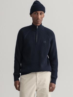 Gant Pull à demi-zip en coton texturé