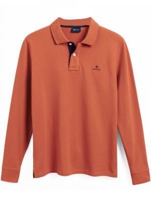 Gant Polo Rugger en coton piqué à manches longues avec col contrastant