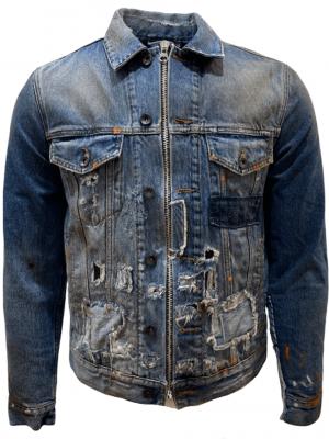 Men Veste en jean à effets peinture