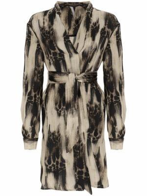 Robes Robe asymétrique à manches longues à crepe satin imprimé