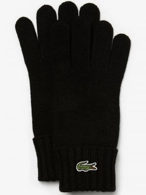 Accessoires Gants en laine unie avec crocodile brodé
